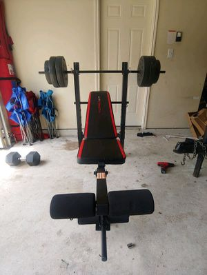 Weight Bench with 100lb barbell set $230 firm for Sale in Anaheim, CA
