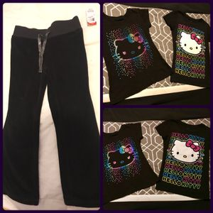 3-PIECE LITTLE GIRLS MATCHING HELLO KITTY OUTFIT SET'S - BRAND NEW BLACK PANTS AND 2 NEW BLACK WITH MULTICOLOR HELLO KITTY FRONT DESIGNS T-SHIRTS for Sale in Colorado Springs, CO
