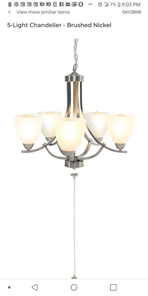 Brand New Best Choice Products Brushed Nickel 5 Light Chandelier with Etched Glass Shades for Sale in Columbus, OH