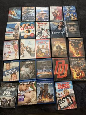 1.00 each dvd/blu-rays movies or Make me an offer and take them all for Sale in Fontana, CA