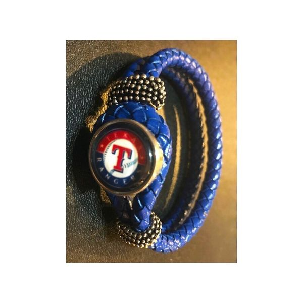 TX Rangers Blue Leather Bracelet