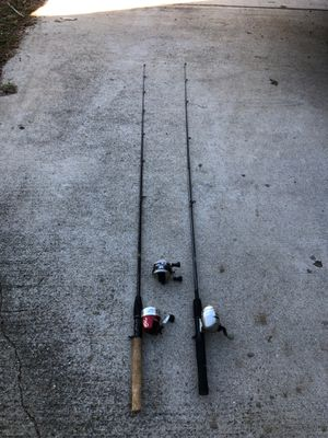 Bass fishing poles for sale and extra reel. 6' rod and reel combos. 20.00 each or both for 30.00 with extra Zebco reel. for Sale in Redlands, CA