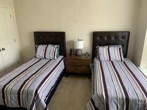 Leather Twin size Beds with mattress, Nightstand for Sale in Ashburn, VA