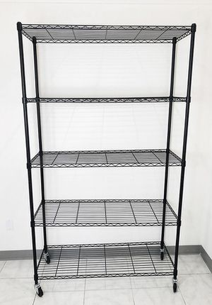 "(New in box) $90 Metal 5-Shelf Shelving Storage Unit Wire Organizer Rack Adjustable w/ Wheel Casters 48x18x82"" for Sale in Whittier, CA"