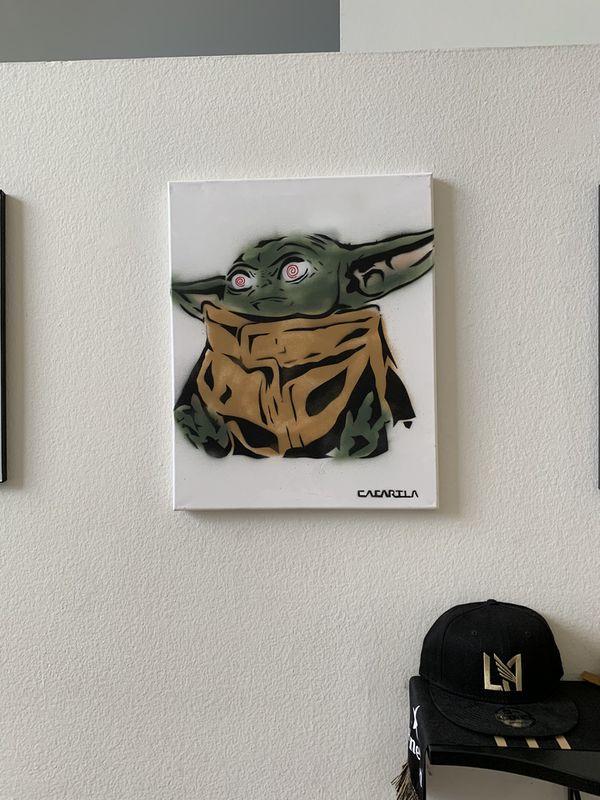 Baby Yoda 16x20 Graffiti Canvas
