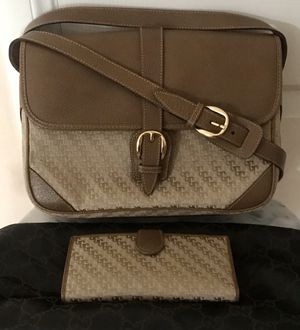 Authentic Vintage Gucci Canvas Leather Bag and Wallet for Sale in Baldwin Park, CA