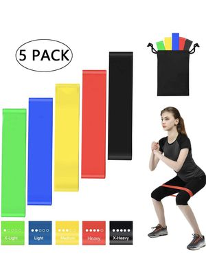 Resistance Loops Bands Set, 5 Pack Resistance Bands for Men Women Workout Home Gym, Fitness Exercise Bands with 5 Different Resistance Levels - Free for Sale in Savannah, GA