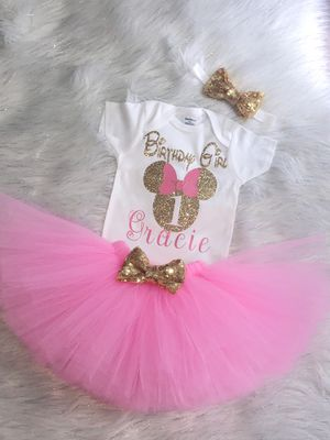 Minnie Mouse birthday outfit set 3 pieces for Sale in San Antonio, TX