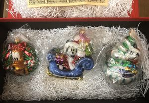 Christopher Radko Mickey Mouse set of three Christmas ornaments for Sale in Squaw Valley, CA