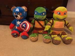 Build a Bear ninja turtles and captain America for Sale in Winchester, MA