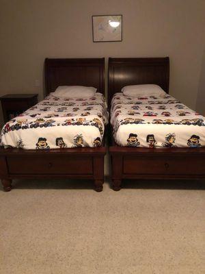 Set of 2 wooden Twin Beds w/ memory foam mattress for Sale in Port Hueneme, CA