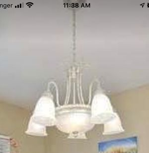 Beautiful Chandelier white frosted glass with white metal. for Sale in El Cajon, CA