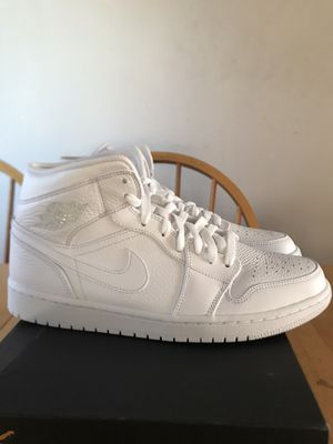 Brand new Nike air Jordan 1 mid triple white basketball shoes men's size 11 for Sale in La Mesa, CA