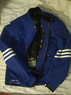 Vintage Power Trip Armored Motorcycle Jacket Size Womens M blue White Stripes for Sale in Fresno, CA
