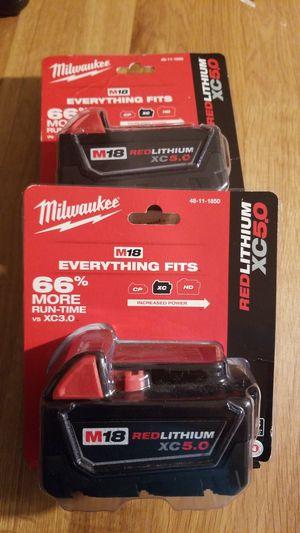 2 Milwaukee 5.0 battery for Sale in Arlington, VA
