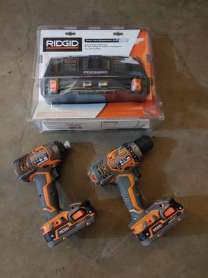 Ridgid 18volt impact/drill combo with dual port sequential charger for Sale in Austin, TX
