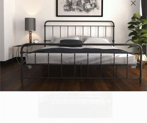 New king bed frame mattress not included black for Sale in Charlotte, NC