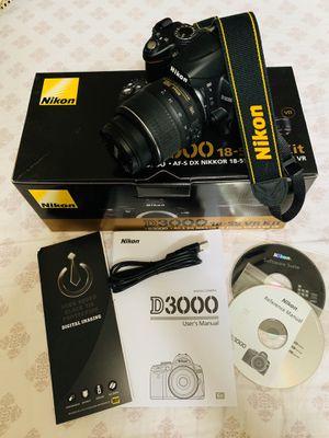 Nikon D3000 10.2MP Digital SLR Camera with 18-55mm f/3.5-5.6G AF-S DX VR Nikkor Zoom Lens for Sale in DeLand, FL