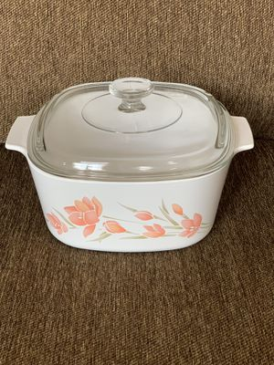 3L CorningWare Casserole Dish w/ Pyrex Lid—Peach Floral—MUST SEE!!! for Sale in Vienna, VA