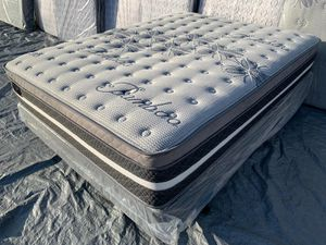Queen Limited edition bamboo europillow top mattress and boxpring for Sale in Los Angeles, CA