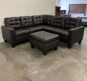Brand New Espresso Bonded Leather Sectional Sofa Couch + Ottoman & Pillows for Sale in Silver Spring, MD