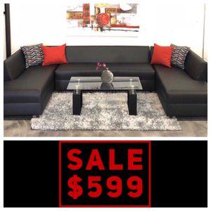 Black Vinyl 3PC Sectional Sofa 💥ON SALE💥 for Sale in Miami Springs, FL