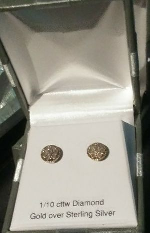 1/10th cttw Diamond Earrings Good over Sterling Silver. Retail. $99.99 for Sale in Riverside, CA