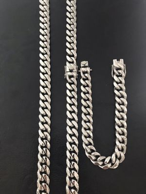 Stainless steel Cuban link chain with brackets set (width 12 mm)(length 30 inch) for Sale in Philadelphia, PA