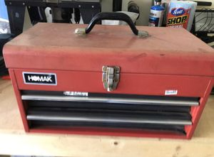 Homak tool box 3 drawers with drill bits and saw blades for sale or trade for Sale in Los Angeles, CA