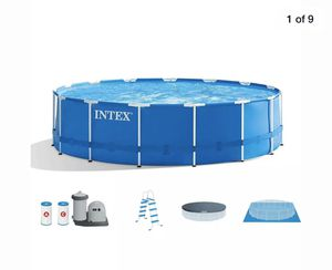 BRAND NEW Intex (18-foot x 48 inches) Metal Frame Pool with complete set (filter, pump, ladder, ground cloth, and pool cover) for Sale in Coral Gables, FL