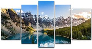Poster Painting On Canvas Print Pictures 5 Pieces Moraine Lake And Mountain Range Sunset for Sale in Fremont, CA