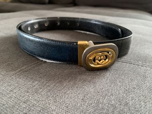 Designer Luxury brand vintage leather belt golden silver buckle 38 inches long for Sale in La Puente, CA