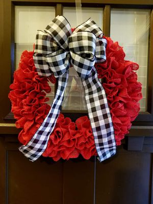 Red Wreath with Black and White Checkered for Sale in Columbia, SC