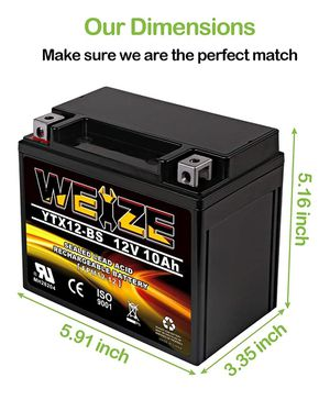 Weize YTX12-BS Motorcycle Battery High Performance - Maintenance Free - Sealed YTX12 BS AGM Rechargeable ATV Batteries For Honda Kawasaki Suzuki for Sale in San Diego, CA