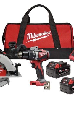 Milwaukee 2992-22 M18 18-Volt Lithium-Ion Brushless Cordless Hammer Drill and Circular Saw Combo Kit (2-Tool) with Two 4.0 Ah Batteries for Sale in Fort Lee,  NJ