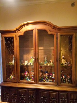 Antique china cabinet two pieces solid wood front drawers veneer sides for Sale in Austin, TX