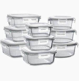 Bayco Glass Storage Containers with Lids, 9 Sets Glass Meal Prep Containers Airtight, Glass Food Storage Containers for Sale in Las Vegas, NV