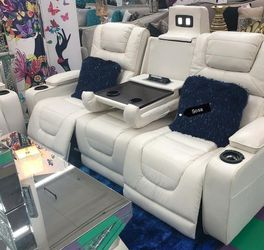 ♦️New 🌜Instock ☘️Party Time White LED Power Reclining Living Room Set💐▶️ for Sale in Silver Spring,  MD