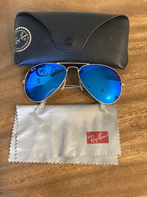 Authentic ray ban aviators sunglasses blue mirror for Sale in Temecula, CA