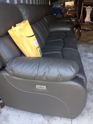 Real genuine Italian leather power recliner sofa and loveseat grey for Sale in Gaithersburg, MD