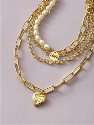 Multi Layered Chunky Choker Necklace with Imitation Pearls Love Heart, Gold Color for Sale in Los Angeles, CA