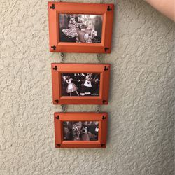 Mickey Mouse 3 Photo Picture 4x6 Frame, Glass And Wood for Sale in Cape Coral,  FL