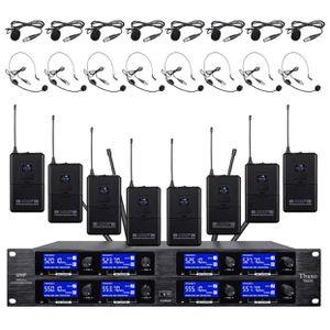 TBAXO Wireless Microphone System 8 Channel Microphones 8 Bodypacks 8 Headsets 8 Lapel Mics Professional Audio UHF DJ Karaoke Church Speaking Conferenc for Sale in Tijuana, MX