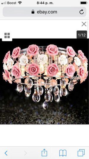 Elegant Pink Rose Ceramic Chandeliers Crystal Pendant Lamp Ceiling Light Fixture price firm $100 for Sale in Hayward, CA