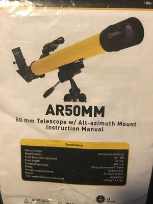50 mm TELESCOPE W/ ALT-AZIMUTH MOUNT MAGNIFIES 30-48x FOCAL LENGTH 600mm NATIONAL GEOGRAPHIC TELESCOPE for Sale in Oklahoma City, OK