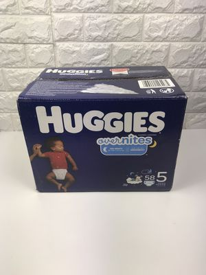 HUGGIES OverNites Diapers, Size 5, 58 Count, Overnight Diapers Pañales for Sale in Tujunga, CA