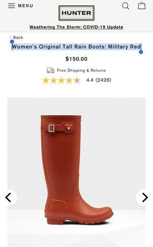 HUNTER Women's Original Tall Rain Boots: Military Red for Sale in Cambridge, MA