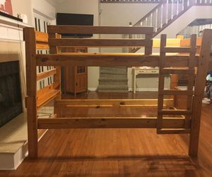 Vintage twin size solid wood bunk bed for Sale in Macon, GA