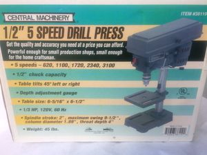 Drill Press, Central Machinery 5 Speed Drill Press for Sale in Oregon City, OR