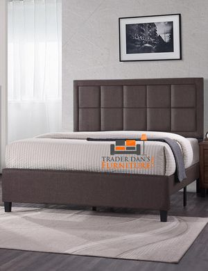 Brand New King Size Brown Upholstered Platform Bed Frame ONLY for Sale in Silver Spring, MD